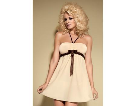 Бежевое мини-платье с коричневой атласной лентой Cappuccino SM