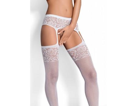 Белые колготки в сетку с имитацией чулок Garter Stockings S500 SM