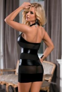 Черное платье под винил с полупрозрачными вставками SL