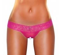 Розовые ажурные стринги с разрезом