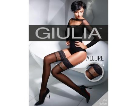 Чулки черные с силиконом Giulia ALLURE 02 3/4 (20 den)