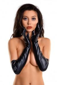 Черные эластичные перчатки выше локтя Glossy