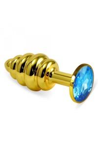 Малая золотая рельефная пробочка с голубым кристаллом