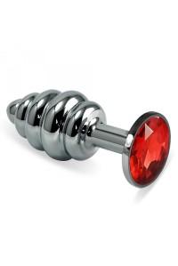 Малая серебряная рельефная пробочка с красным кристаллом
