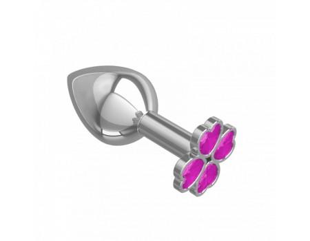 Средняя пробочка с кристаллом в форме розового четырехлистного клевера