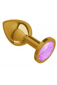Средняя золотая пробочка с сиреневым круглым кристаллом