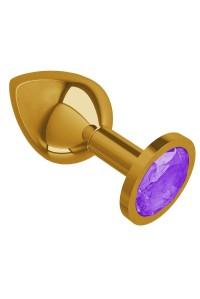Средняя золотая пробочка с фиолетовым круглым кристаллом