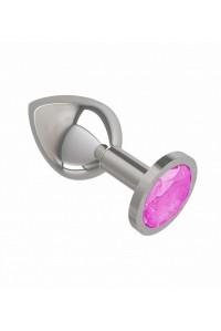 Средняя серебряная пробочка с розовым круглым кристаллом