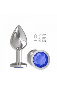 Средняя серебряная пробочка с синим круглым кристаллом