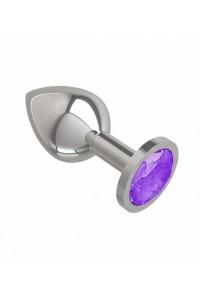Средняя серебряная пробочка с фиолетовым круглым кристаллом