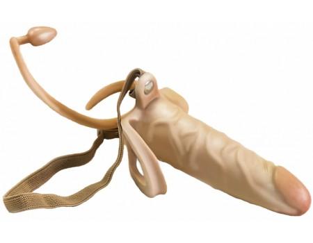 Фаллопротез на эластичном креплении с кольцом для мошонки и анальным стимулятором