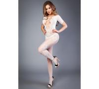 Белый боди-комбинезон с коротким