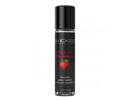 Съедобный лубрикант на водной основе Wicked AQUA Strawberry (вкус сочной клубники) 30 мл