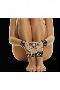 Крестообразные фиксаторы для рук и ног Leather Hand And Legcuffs Ouch!