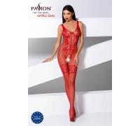 Красный комбинезон в сеточку с имитацией шнуровки SL