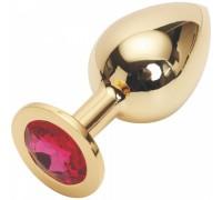 Большая тяжелая золотая металлическая пробка с розовым кристаллом