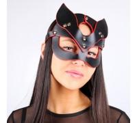 Черная кожаная маска с красной оторочкой Notabu