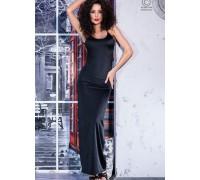 Длинное черное платье с открытой