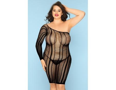 Асимметричное эластичное платье с продольными полосками Nikki XXL