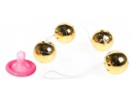 Вагинальные шарики четырехрядные Play Balls, золото