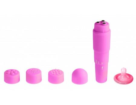 Вибромасcажер фиолетовый с насадками Funny Five