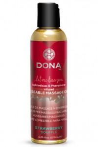 Вкусовое массажное масло DONA Kissable Massage Oil Strawberry Souffle 110 мл