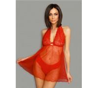 Полупрозрачное красное платье с кружевном топом LXL
