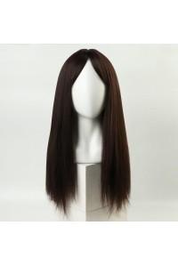 Каштановый парик с длинными волосами и чёлкой, с имитацией кожи