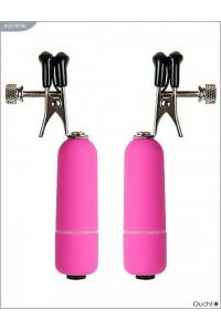 Зажимы для груди розовые регулируемые с вибрацией из серии OUCH!