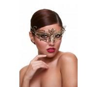 Золотая карнавальная маска со стразами