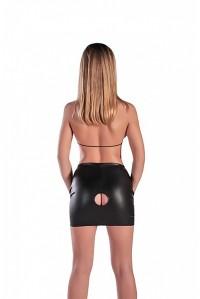 Кожаная юбка с отверстием и лифом LXL
