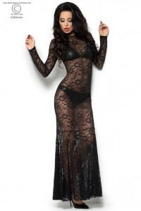 Комплект из гипюрового платья в пол, лифа и трусиков под кожу L