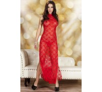 Красное ажурное платье в пол с вырезами по бокам SM