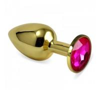 Малая золотая пробочка с розовым кристаллом