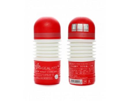 Мастурбатор красно-белый с подвижной головкой Magical KISS ROLLING HEAD CUP