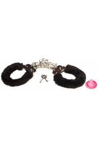 Металлические оковы на ноги с черным мехом Ankle Cuffs Black