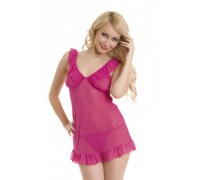 Платье розовое сетчатое с рюшами