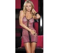 Полосатое мини-платье в сеточку