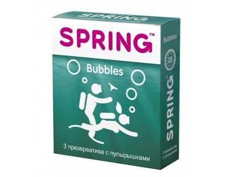 Презервативы SPRING Bubbles с пупырышками и ароматом тутти-фрутти (3 шт)