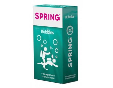 Презервативы SPRING Bubbles с пупырышками и ароматом тутти-фрутти (9 шт)
