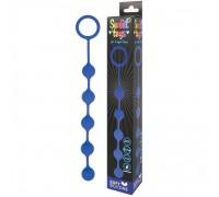 Синяя анальная цепочка с металлическими