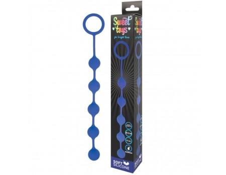 Синяя анальная цепочка с металлическими шариками Sweet toys (23 см)