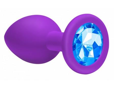 Средняя анальная пробочка с голубым кристаллом Cutie Medium