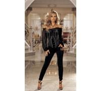 Стрейчевые черные брюки со сборками L