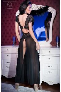 Черная длинная сорочка с фигурным вырезом на спине L