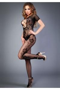 Черный боди-комбинезон с коротким рукавом и имитацией шнуровки