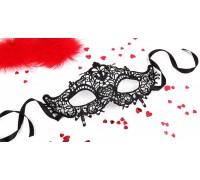 """Чёрная ажурная маска на завязочках """"Памелла"""""""
