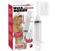 Шприц для смазки с вагинальной и анальной насадками WET&HORNY 100 мл