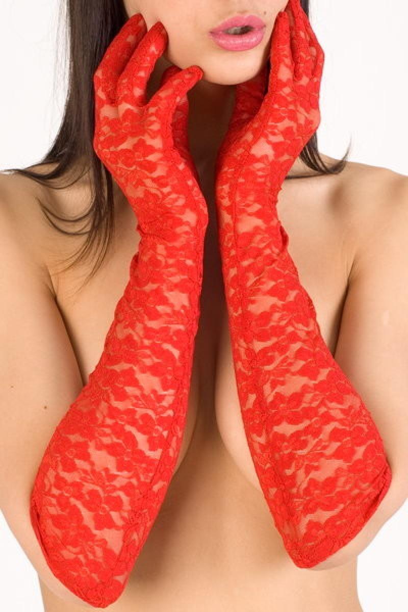 Фото шлюх в длинных красных перчатках